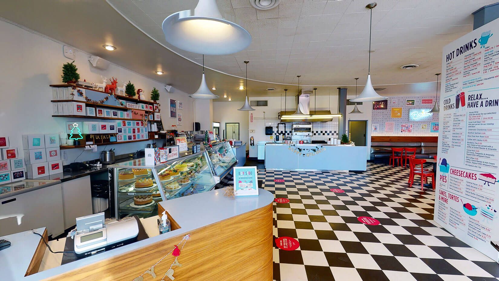 Retro diner cake display and cash counter