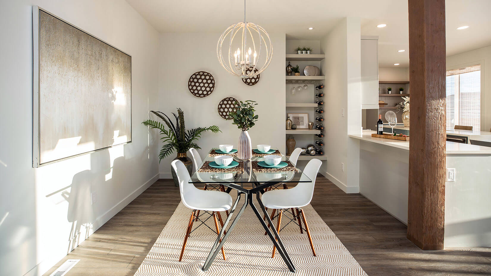 Warm toned dining area