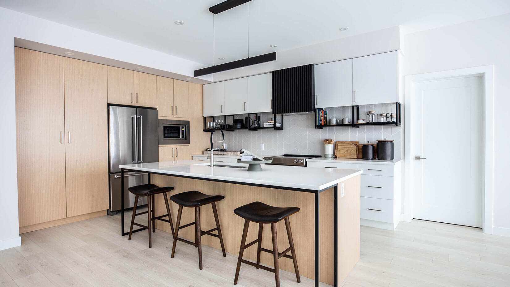 Modern kitchen with island and bar stools