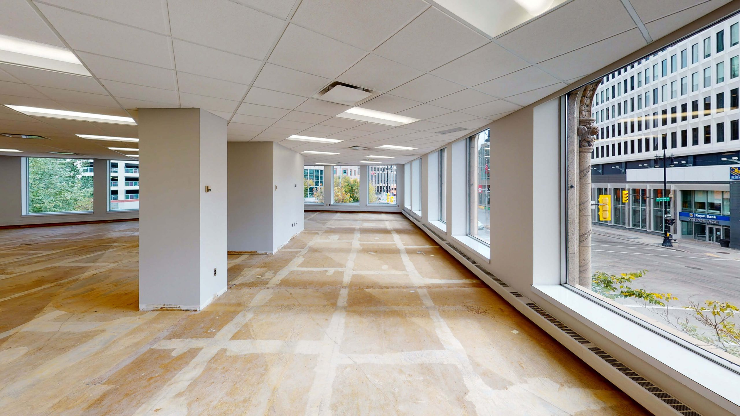 Empty building interior with unfinished floors