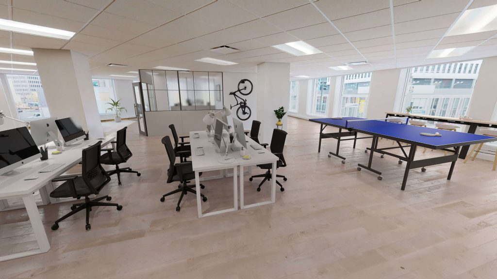 Modern office space with ping pong tables