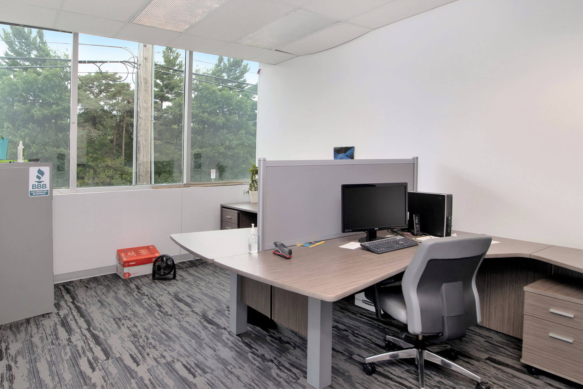 office space with corner cubicle