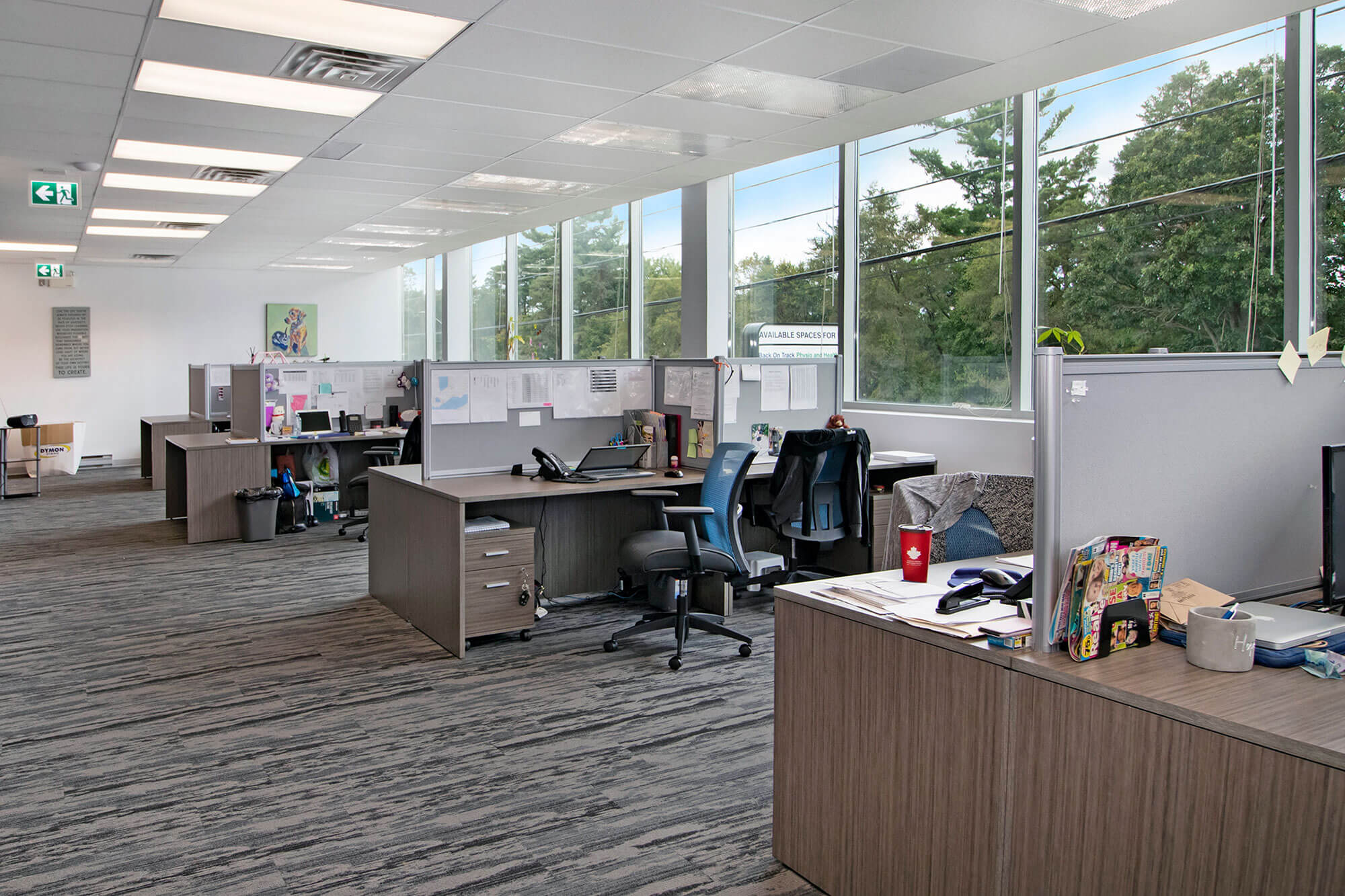 office space with corner cubicles