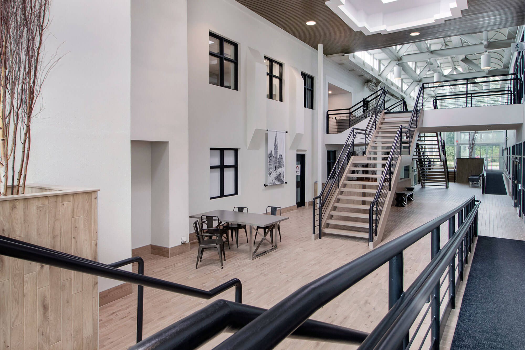 commercial interior with modern staircase