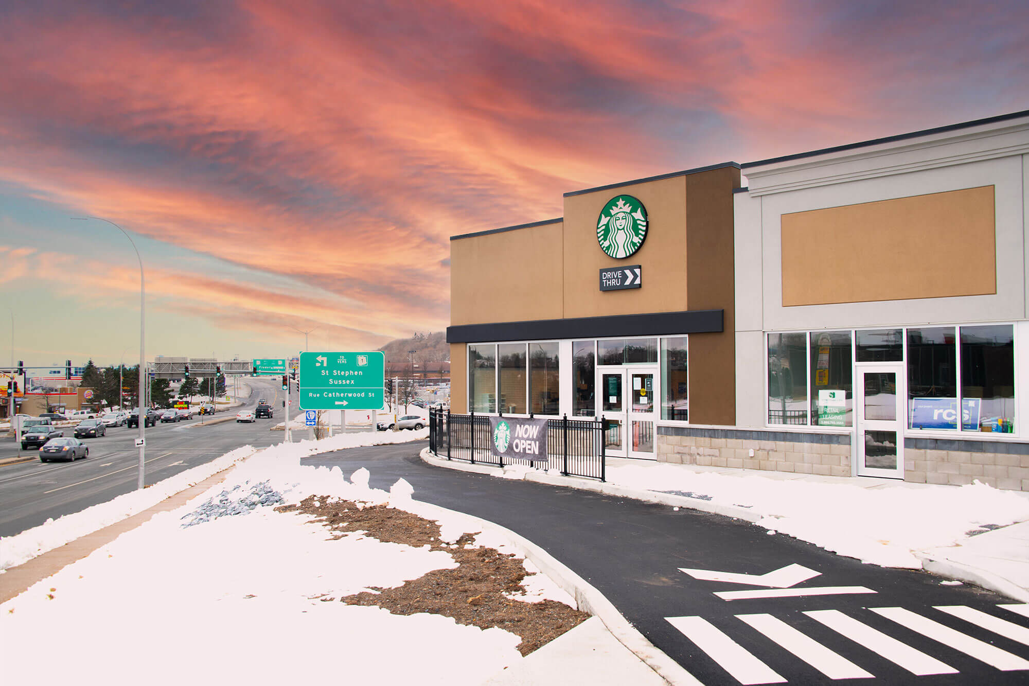landscape with starbucks and sunset
