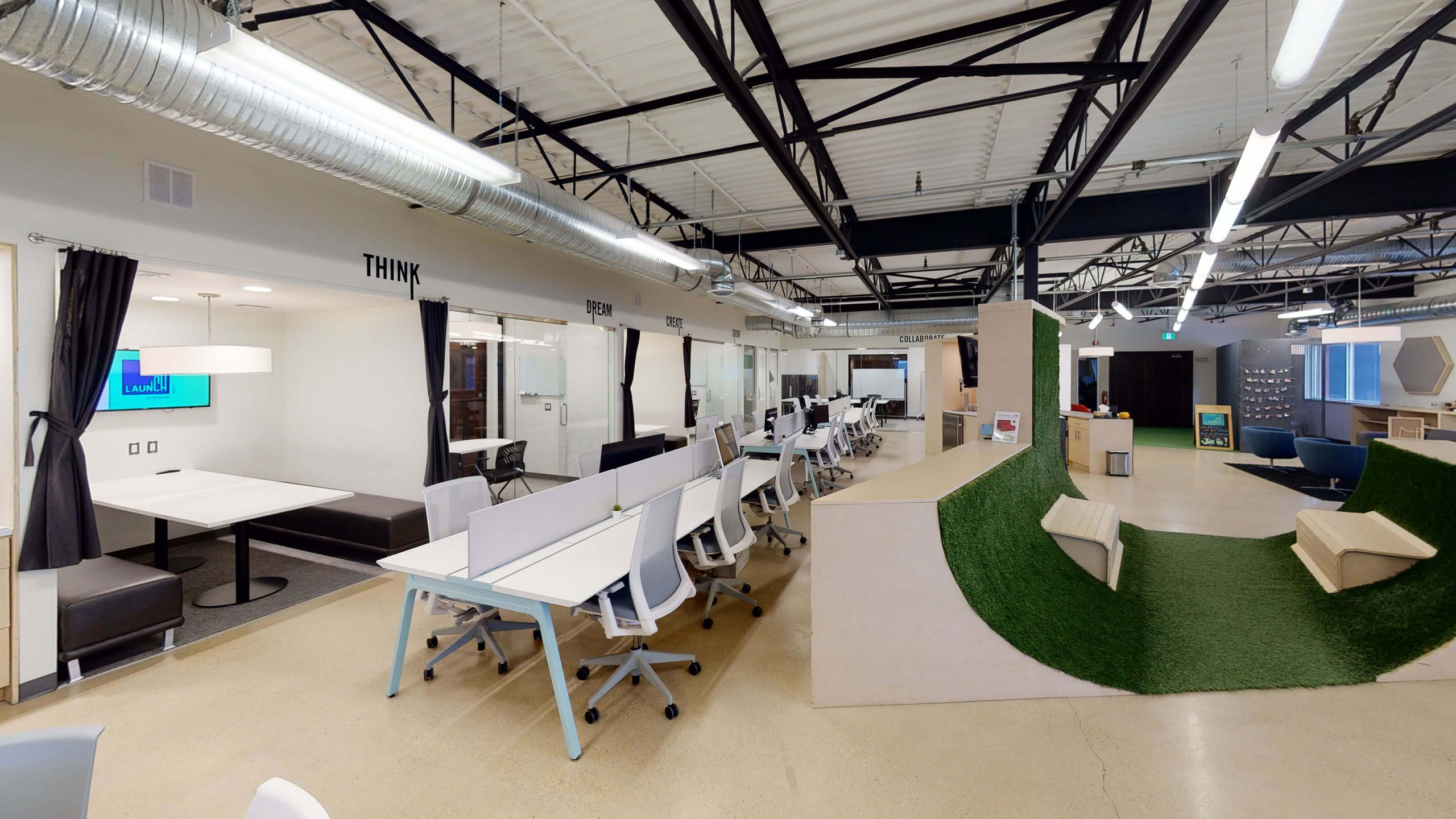 Virtually staged modern office interior with plants