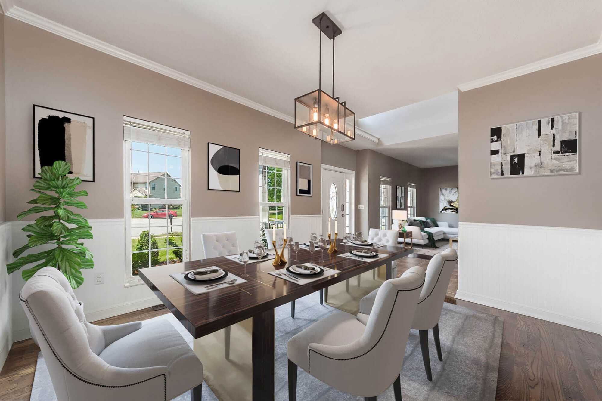 residential staged dining and living area
