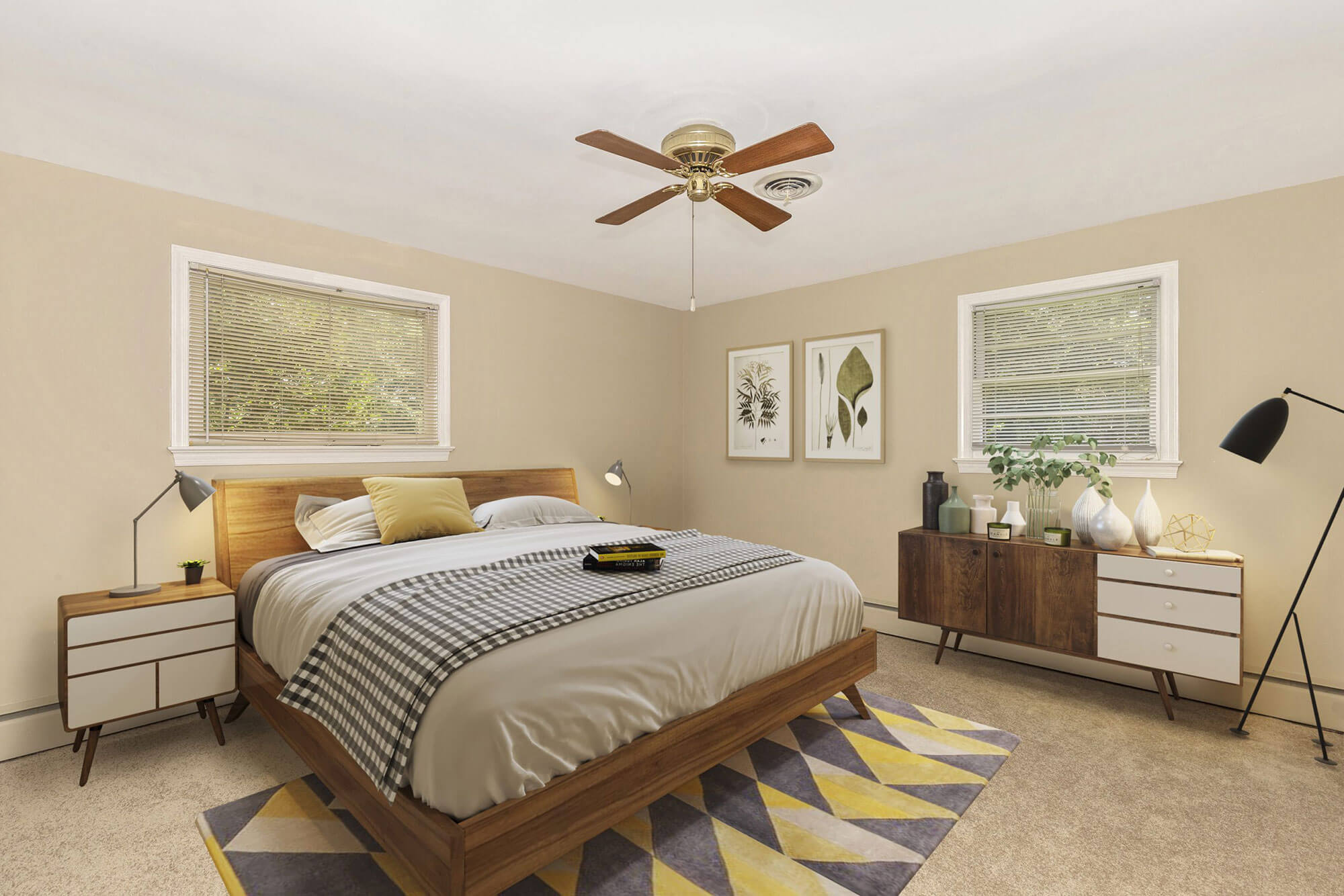 staged bedroom with yellow and beige tones