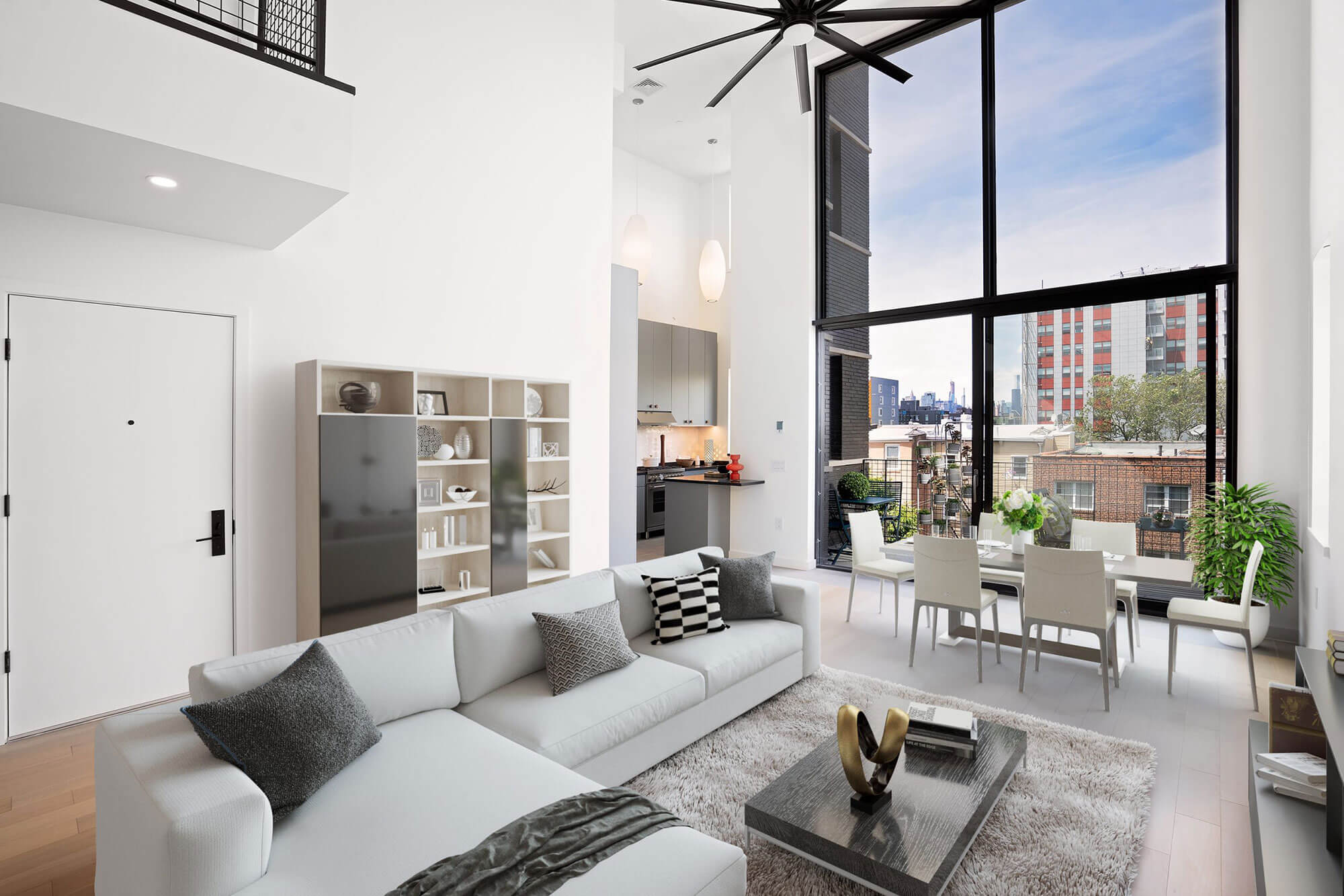 residential staged interior with tall ceilings
